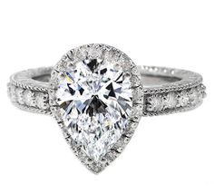 Pear Diamond Double Halo Vintage  Engagement Ring with a Diamond Band, 0.76 tcw in 14K White Gold