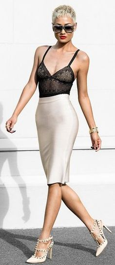 High Rise Pencil Skirt by Micah Gianneli