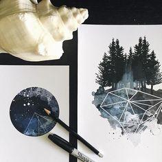 BEST OF ETSY — Geometric Watercolor Illustrations by Ella T....