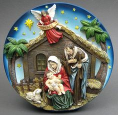Nativity Scene Plate LED Measures: Unique Resin nativity scene has LED lights with the Angel overhead of The Holy Family. Great way to decorate for the holidays in a small space. Great for a desk or table top. Measures x x Christmas Nativity Set, Christmas Bells, Christmas Tree Ornaments, Christmas Decorations, Merry Christmas, Art Nouveau Disney, Sunday School Crafts, Felt Ornaments, Christmas Printables