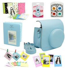 Amazon.com : CAIUL 7 in 1 Fujifilm Instax Mini 8 Instant Film Camera Accessories Bundles (Blue Instax Mini 8 Case/ Mini Album/ Close-up Selfie Lens/colors Close-up Lens/ Wall Hang Frames/film Frame/ Film Stickers) : Camera & Photo