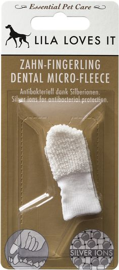 The soft microfibre material removes deposits and plaque. Thanks to its antibacterial silver ion technology, the dental finger cot binds bacteria. The dental finger cot is free of chemical additives.