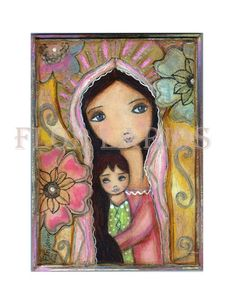 Young Madonna with Flowers Folk Art Print from by FlorLarios, $15.00