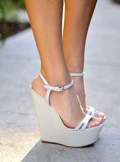 Beautiful, Comfortable, Elegant White Wedge Sandals Open Toe Platform Slingback Sandals you best choice for Party, Date, Going out -TOP Design by FSJ White Wedge Sandals, White Wedges, Wedge High Heels, Chunky Sandals, Silver Sandals, High Shoes, Platform High Heels, Platform Wedge Sandals, Black Platform