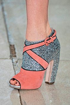 Miu miu heels.... dying for these! sparkle+ pastel + black piping.... brilliant!