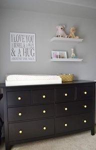 Dark furniture and gray paint. Add color  I love you a bushel & a peck & a hug around the neck Grey Dresser, Nursery Dresser, Nursery Shelves, Nursery Room, Large Dresser, Babies Nursery, Nursery Decor, Bedroom, Hemnes