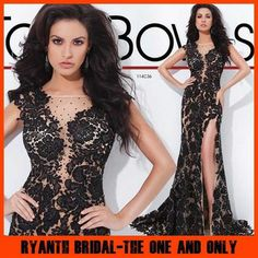 High-grade Custom Made Black Tony Bowls Evening Gowns With Train 2014 Side Slit Special Occasion Dresses For Evening