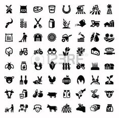 Pictogram food: vector black agriculture and farming icons set Illustration