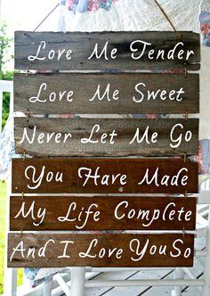 Wedding Sign Love Me Tender Rustic Wooden door PiccadillyPastimes