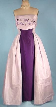 Vintage strapless purple evening dress, c. 1955