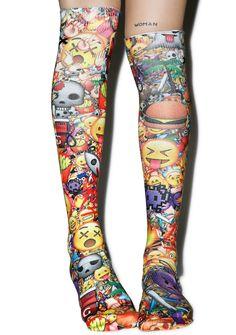 Emoji Love, Crazy Socks, Boy London, Knee High Socks, Street Wear, 3d, Dolls, Kawaii, Baby