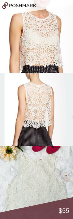 """Free People Cut Work Blouse Details: - Crew neck - Sleeveless - Back keyhole with button closure - Open knit crochet construction - Approx. 19"""" length, laying flat across @ bust: 19"""".  - Imported. NWT Free People Tops Blouses"""
