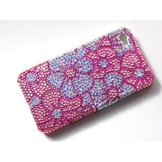 Princess Pink Daisy Pansy Flower iPhone 4S 4 Case Cover With Swarovski Crystal