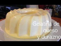Gelatina de queso y durazno !!!! receta facil - YouTube