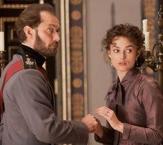 "Jude Law (as Alexei Karenin) and Keira Knightley (as Anna) in the new film adaptation of ""Anna Karenina"""