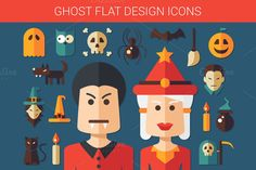 Halloween Flat Design Icons Set by Decorwith.me Shop on Creative Market