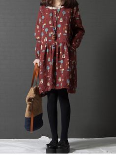 Casual Women Printed Long Sleeve Pockets Mini Dress
