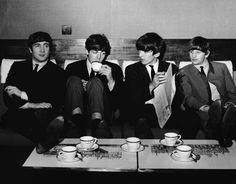 4th November 1963. The Beatles take a break between rehearsals for the Royal Command Performance Prince of Wales Theatre