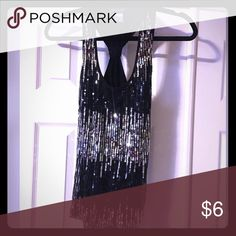 Sequined Tank Top Black and silver sequined Tank Tops Tank Tops