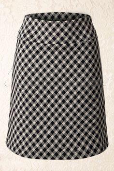 50s Gingham Borderskirt in Black and Cream