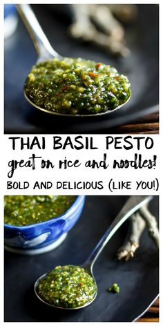 This easy Thai basil pesto is a healthy way to Thai-i-fy noodles, rice, tofu and veggies in a hurry. This one's for my Thai lovers. But before I even start talking Thai basil pesto, I feel mo… Thai Basil Pesto Recipe, Thai Basil Recipes, Herb Recipes, Pesto Sauce, Sauce Recipes, Asian Recipes, Vegetarian Recipes, Cooking Recipes, Healthy Recipes
