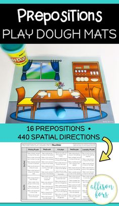 A no-prep, interactive way to practice prepositions, build vocabulary, and follow directions with play dough!