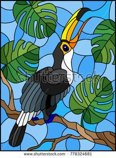Imagens, fotos stock e vetores similares de Illustration in stained glass style bird Toucan on branch tropical tree against the sky - 778324681 Stained Glass Birds, Stained Glass Crafts, Faux Stained Glass, Stained Glass Designs, Stained Glass Patterns, Bird Painting Acrylic, Glass Painting Designs, Toucan, Tropical Art