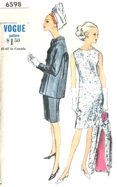 1960s CLASSY Dress and Jacket Pattern VOGUE 6598 Day or Cocktail Evening Bust 36 Vintage Sewing Pattern
