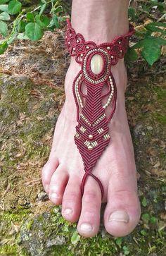Yellow Aventurine barefoot sandal, handmade barefoot sandal, macrame jewelry, bohemian jewelry, gypsy jewelry, micro macrame, hippie jewelry