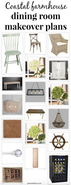 Coastal farmhouse dining room makeover plans - love that farmhouse table and pretty light fixtures!