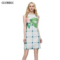 Women Floral Leaf Print Plaid Dress Summer Casual Fashion Work Party Sleeveless Mini Dresses