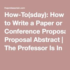 writing conference thesis and dissertation proposals