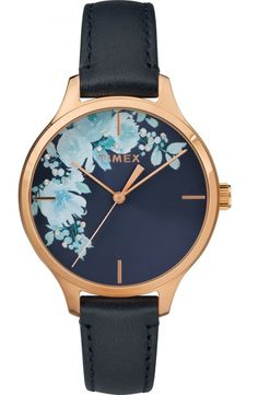 3bb2fdbcaef5 Timex Crystal Bloom TW2R66700 Women s Floral Dial and Swarovski Accented  Leather Watch