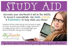 Young Living Essential Oils, study aid, concentration, focus, studying, homework, test, tests, basil, rosemary, lemon, memory, memorization