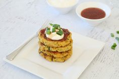 For a healthy and meat-free light dinner or snack, you need these Cheesy Quinoa, Sweet Potato & Zucchini Fritters in your life. Top with sour cream, sweet chilli sauce and spring onions for an amazingly delicious meal.