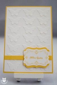 Stampin' Up! Faux Embossing, Karte Four Frames mit Schmetterlingen