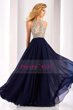 2017 Scoop Prom Dresses Chiffon With Beading A Line Open Back