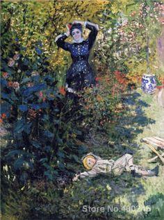 Camille e Jean Claude Monet no Jardim em Argenteuil pintura de Monet para venda óleo sobre tela pintado à Mão de Alta qualidade