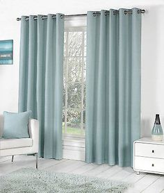 Teal curtains Living Room - Sorbonne Plain Dyed Heavy Cotton Eyelet Ring Top Lined Curtains, Duck Egg Blue. Eyelet Curtains Design, Ready Made Eyelet Curtains, Plain Curtains, Teal Curtains, Room Darkening Curtains, Lined Curtains, Teal Blinds, Blackout Curtains, Blue Curtains Living Room