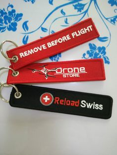 """REMOVE BEFORE FLIGHT"" key ring"