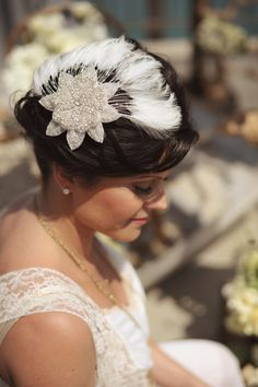 Beaded Flower, Bridal Fascinator, Bridal Feathered, Vintage Rhinestone Flower -Dream. $175.00, via Etsy.