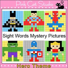(Use for quilt pattern?)Super Hero Sight Words Mystery Pictures Worksheet: Your students will have a blast practicing their sight words by uncovering these fun hero characters. Uses Dolch sight words for Primer, Grade Grade 2 and Grade Dolch Sight Word List, Sight Words List, Super Hero Activities, Autism Activities, Superhero Classroom, Classroom Themes, Superhero School, Professor, Early Literacy