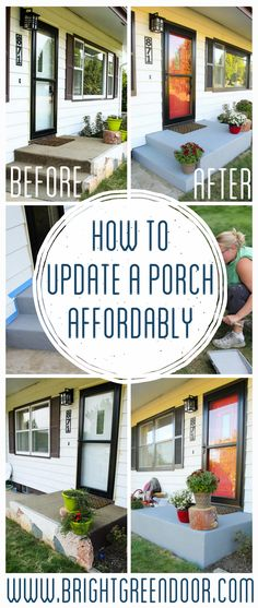 An Affordable Porch Makeover Painted Concrete Painted Front Porch BEHR DeckOver Small Front Porch Painted Front Steps Painted Cement Painted Concrete Decor Style Home Decor Style Decor Tips Maintenance Painted Concrete Steps, Concrete Front Steps, Front Porch Steps, Front Stoop, Front Doors, Diy Concrete, Clean Concrete, Painted Front Porches, Gardens
