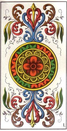 Ace of Coins card from the Swiss Tarot Deck True Tarot, Vintage Tarot Cards, Ace Of Pentacles, Esoteric Art, Oracle Tarot, Coin Card, Tarot Card Meanings, Tarot Card Decks, Archetypes