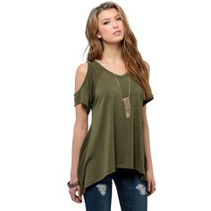 Amazing Sexy Loose Short Sleeve Shirt Women Casual T-shirt Summer Style New Arrival