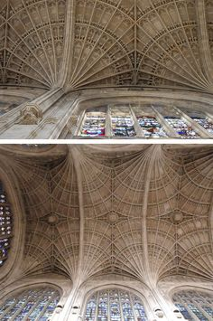 Fan vaulted ceiling in King's College Chapel, Cambridge, UK.  King's college is home to the largest fan-vaulted ceiling in the world as well as the largest collection of original stained glass windows. It is also one of the prime examples of Gothic style churches.
