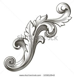 Tattoo Filigree Pattern | Tattoos: vintage Baroque design frame pattern element engraving retro ...
