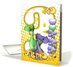 Twins 3rd Birthday Card - Cute Little Dragons card (625045)