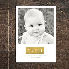 Metallic Noel Christmas Photo Cards by Snow + Ivy #foil #gold #silver #metallic