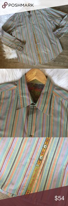 Robert graham striped mens button up shirt XL Has a matte, slight faded appearance from factory. No additional fade, stains, or wash wear. Looks great! 2nd photo of collar shows color best. Robert Graham Shirts Dress Shirts